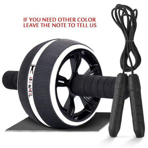 "The KedStore Black B with Rope / 12.99""*6.61"" 2 in 1 ab roller & jump rope no noise abdominal wheel with mat for arm waist leg exercise 