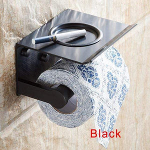 The KedStore Black Bathroom Toilet Paper Holder with a Shelf