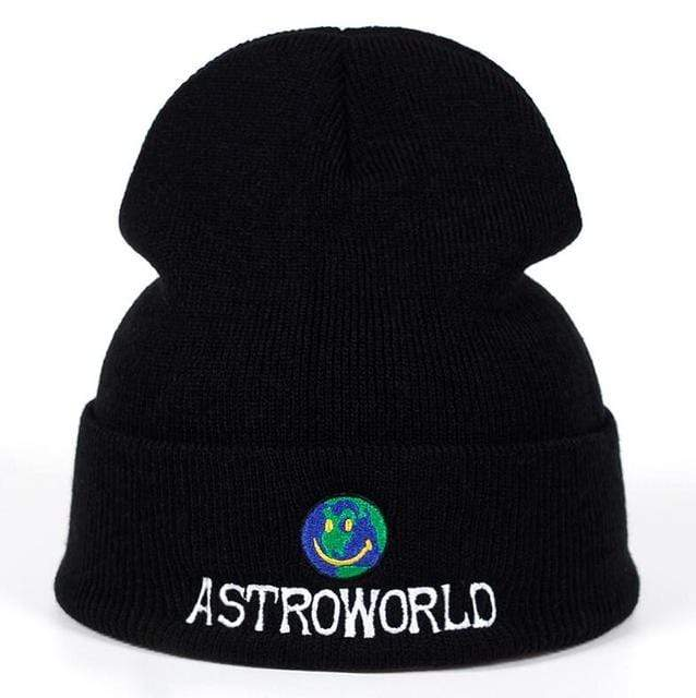The KedStore Black Beanie ASTROWORLD Knit Cap Embroiderd