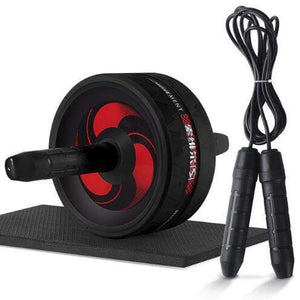 "The KedStore Black C with Rope / 12.99""*6.61"" 2 in 1 ab roller & jump rope no noise abdominal wheel with mat for arm waist leg exercise 