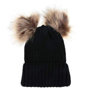 The KedStore Black Double Ball / Mom Size Fashion Parent-child Caps Winter Hat Double Fur Ball Hat Mother Kid Warm Knitted beanie s