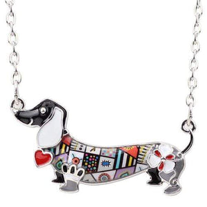 The KedStore Black Enamel Dachshund Dog Choker Necklace