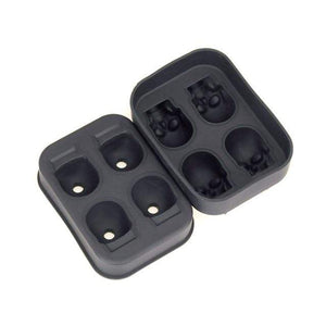 The KedStore Black Large Ice Cube Tray Pudding Mold 3D Skull Silicone Mold 4-Cavity DIY Ice Maker. Bandeja de hielo
