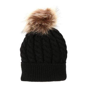 The KedStore Black Single Ball / Baby Size Fashion Parent-child Caps Winter Hat Double Fur Ball Hat Mother Kid Warm Knitted beanie s