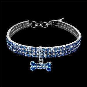 The KedStore Blue / 20cm Exquisite Bling Crystal Dog Collar