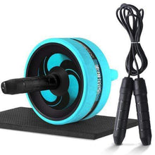 "Load image into Gallery viewer, The KedStore Blue C with Rope / 12.99""*6.61"" 2 in 1 ab roller & jump rope no noise abdominal wheel with mat for arm waist leg exercise 