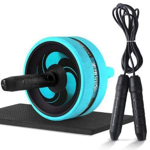 "The KedStore Blue C with Rope / 12.99""*6.61"" 2 in 1 ab roller & jump rope no noise abdominal wheel with mat for arm waist leg exercise 