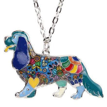 Load image into Gallery viewer, The KedStore Blue Spaniel Choker Necklace Chain Enamel Jewelry
