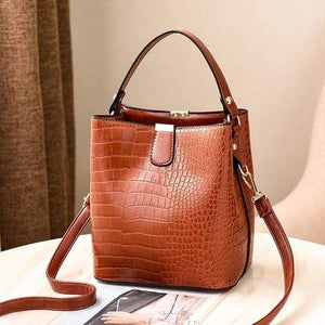 The KedStore Brown / (30cm<Max Length<50cm) Crocodile Pattern Handbag Shoulder Messenger Bag