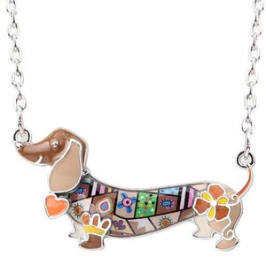 The KedStore Brown Enamel Dachshund Dog Choker Necklace