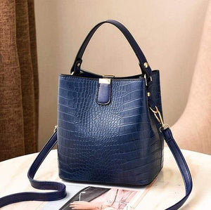 The KedStore Dark blue / (30cm<Max Length<50cm) Crocodile Pattern Handbag Shoulder Messenger Bag