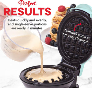 The KedStore Dash Mini Maker: The Mini Waffle Maker Machine for Individual Waffles, Paninis, Hash browns, & other on the go Breakfast, Lunch, or Snacks - Aqua