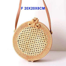 Load image into Gallery viewer, The KedStore F wang ge Round Handmade Woven Rattan Beach Cross Body Circle Bohemia Straw Handbag