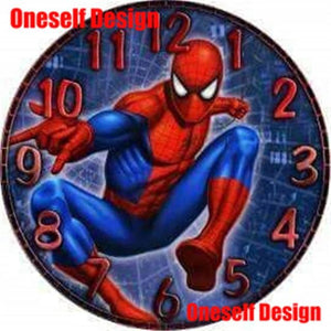 The KedStore FB0360 / 60x60cm square 5d diamond painting clock Spiderman diamond embroidery sale 5d diamond mosaic sale clock wall sticker | TheKedStore