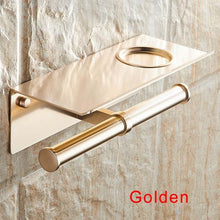 Load image into Gallery viewer, The KedStore Gold 2 Bathroom Toilet Paper Holder with a Shelf