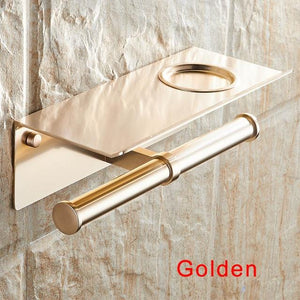 The KedStore Gold 2 Bathroom Toilet Paper Holder with a Shelf