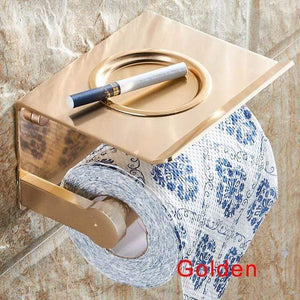 The KedStore Gold Bathroom Toilet Paper Holder with a Shelf