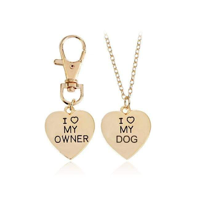 The KedStore Gold-color 2pcs/set Gold Silver Heart I Love My Owner Dog Necklace Keychain