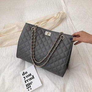 The KedStore Gray / 32cm 15cm 24cm Luxury Handbags Designer Leather Chain Large Shoulder Bag Tote