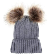 Load image into Gallery viewer, The KedStore Grey Double Ball / Mom Size Fashion Parent-child Caps Winter Hat Double Fur Ball Hat Mother Kid Warm Knitted beanie s