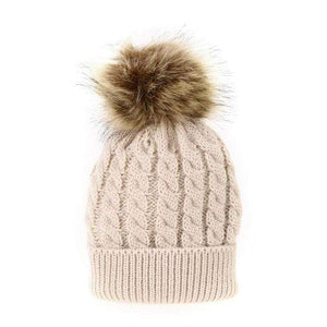 The KedStore Khaki Single Ball / Baby Size Fashion Parent-child Caps Winter Hat Double Fur Ball Hat Mother Kid Warm Knitted beanie s