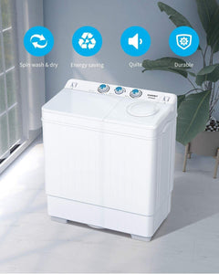 The KedStore KUPPET Compact Twin Tub Portable Mini Washing Machine 26lbs Capacity, Washer(18lbs) & Spiner(8lbs)/Built-in Drain Pump/Semi-Automatic (White)