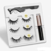 Load image into Gallery viewer, The KedStore mix1 3 Pairs Magnetic Eyelashes set & Magnet Liquid Eyeliner & Tweezer Waterproof Long Lasting Eyelashes