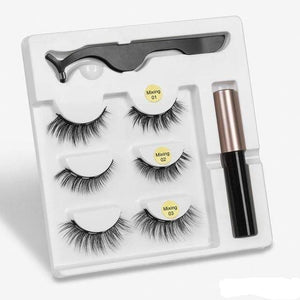 The KedStore mix1 3 Pairs Magnetic Eyelashes set & Magnet Liquid Eyeliner & Tweezer Waterproof Long Lasting Eyelashes