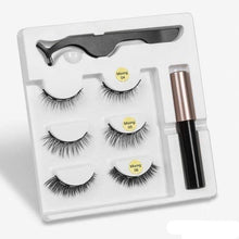 Load image into Gallery viewer, The KedStore mix2 3 Pairs Magnetic Eyelashes set & Magnet Liquid Eyeliner & Tweezer Waterproof Long Lasting Eyelashes