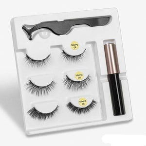 The KedStore mix2 3 Pairs Magnetic Eyelashes set & Magnet Liquid Eyeliner & Tweezer Waterproof Long Lasting Eyelashes