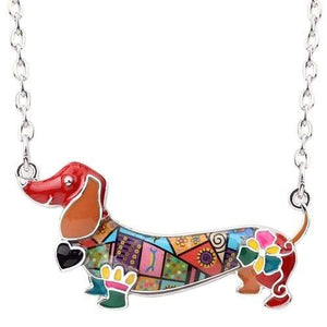 The KedStore Multicolor Enamel Dachshund Dog Choker Necklace