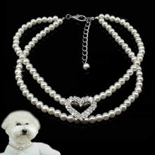 Load image into Gallery viewer, The KedStore Pet Dog Pearl Necklace Puppy Collar. 2 Row Jewellery with Rhinestone Heart Tag