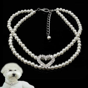 The KedStore Pet Dog Pearl Necklace Puppy Collar. 2 Row Jewellery with Rhinestone Heart Tag