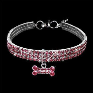 The KedStore Pink / 25cm Exquisite Bling Crystal Dog Collar