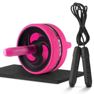 "The KedStore Pink C with Rope / 12.99""*6.61"" 2 in 1 ab roller & jump rope no noise abdominal wheel with mat for arm waist leg exercise 