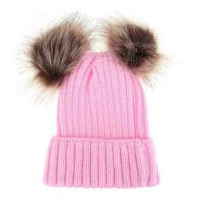 The KedStore Pink Double Ball / Mom Size Fashion Parent-child Caps Winter Hat Double Fur Ball Hat Mother Kid Warm Knitted beanie s