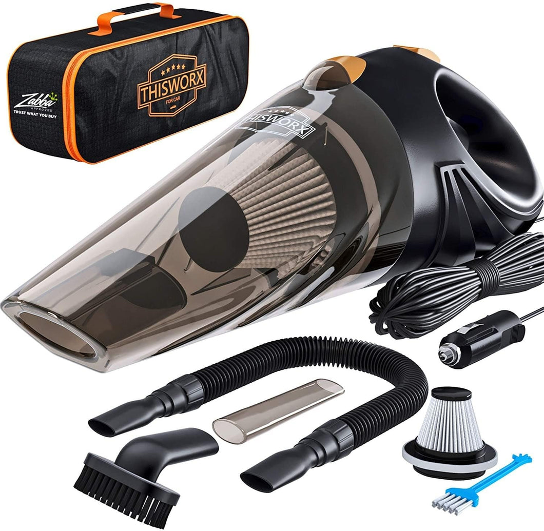 The KedStore Portable Car Vacuum Cleaner: High Power Corded Handheld Vacuum w/ 16 foot cable - 12V - Best Car & Auto Accessories Kit for Detailing and Cleaning Car Interior