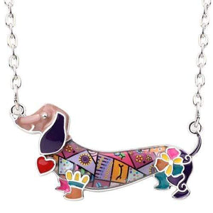 The KedStore Purple Enamel Dachshund Dog Choker Necklace