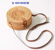 Load image into Gallery viewer, The KedStore Q 18X8 xiao pi kou Round Handmade Woven Rattan Beach Cross Body Circle Bohemia Straw Handbag