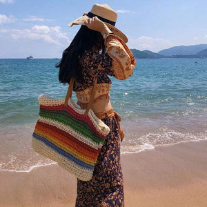 The KedStore Rainbow color beach bag rattan handmade knitted straw large capacity leather tote