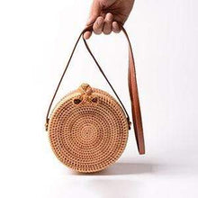 Load image into Gallery viewer, The KedStore Rattan Bow Vintage Handmade Rattan Woven Shoulder Bag PU Leather Strap