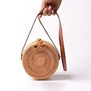 The KedStore Rattan Bow Vintage Handmade Rattan Woven Shoulder Bag PU Leather Strap