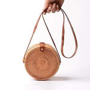 The KedStore Rattan Solid Vintage Handmade Rattan Woven Shoulder Bag PU Leather Strap