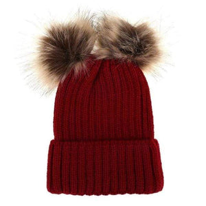 The KedStore Red Double Ball / Mom Size Fashion Parent-child Caps Winter Hat Double Fur Ball Hat Mother Kid Warm Knitted beanie s