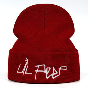The KedStore Red Lil Peep Beanie Embroidery Repper Love Knit Cap Knitted Skullies Warm Winter Unisex Ski Hip Hop Hat