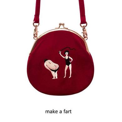 The KedStore red satchel Vintage Style Velvet Embroidery Women Messenger Bag