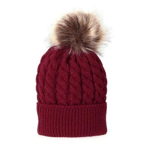 The KedStore Red Single Ball / Baby Size Fashion Parent-child Caps Winter Hat Double Fur Ball Hat Mother Kid Warm Knitted beanie s