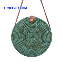 Load image into Gallery viewer, The KedStore Round Handmade Woven Rattan Beach Cross Body Circle Bohemia Straw Handbag