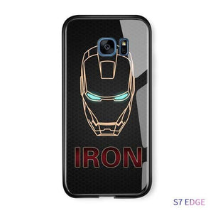 The KedStore S7 Edge / Ironman Tempered Glass Phone Case / Black Panther, Iron Man, Spiderman, Captain America Phone Case For Samsung Galaxy S7 Edge S8 S8 Plus