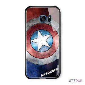 The KedStore S8 Plus / Captain America Tempered Glass Phone Case / Black Panther, Iron Man, Spiderman, Captain America Phone Case For Samsung Galaxy S7 Edge S8 S8 Plus